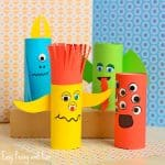 Cute Paper Roll Monsters Halloween Craft for Kids