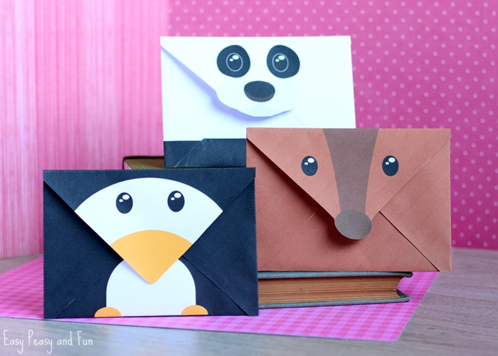 Penguin Reindeer and Panda Envelopes