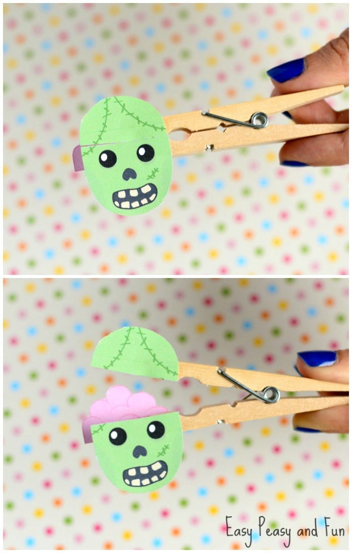 Printable Clothespin Zombie Puppet Craft