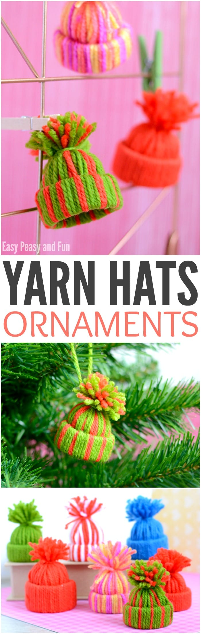 Mini yarn hats ornaments diy christmas ornaments easy for Fun decorations for christmas