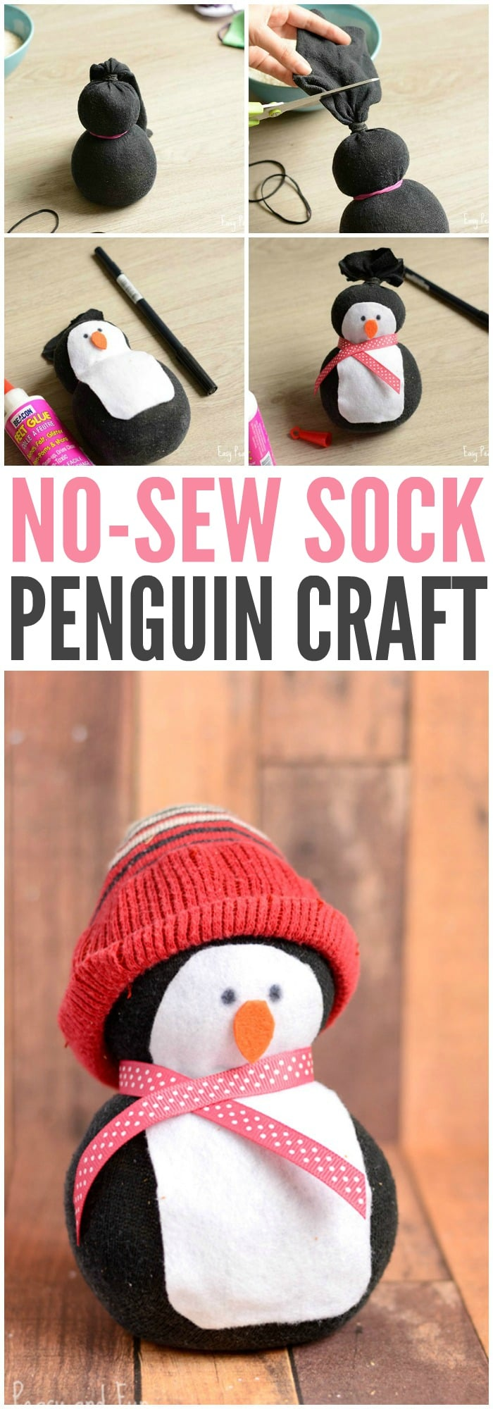 Adorable No-Sew Sock Penguin Craft