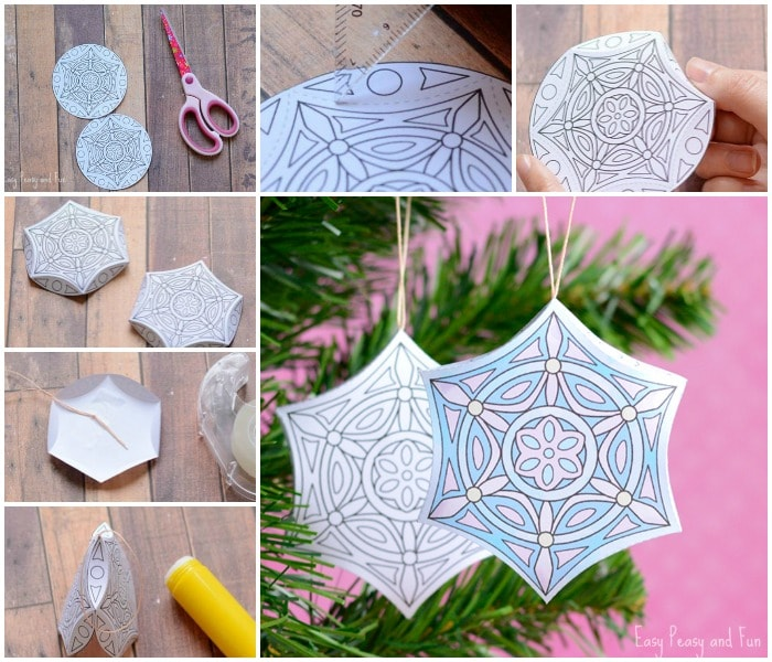 Adorable Printable Christmas Ornaments to Color