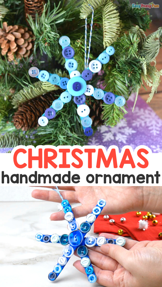 Christmas Ornamant Handmade with Buttons and Craft Sticks