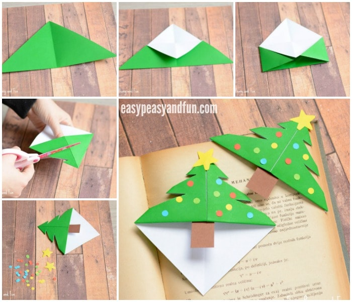 How To Make A Corner Bookmark : Christmas tree corner bookmarks origami for kids easy