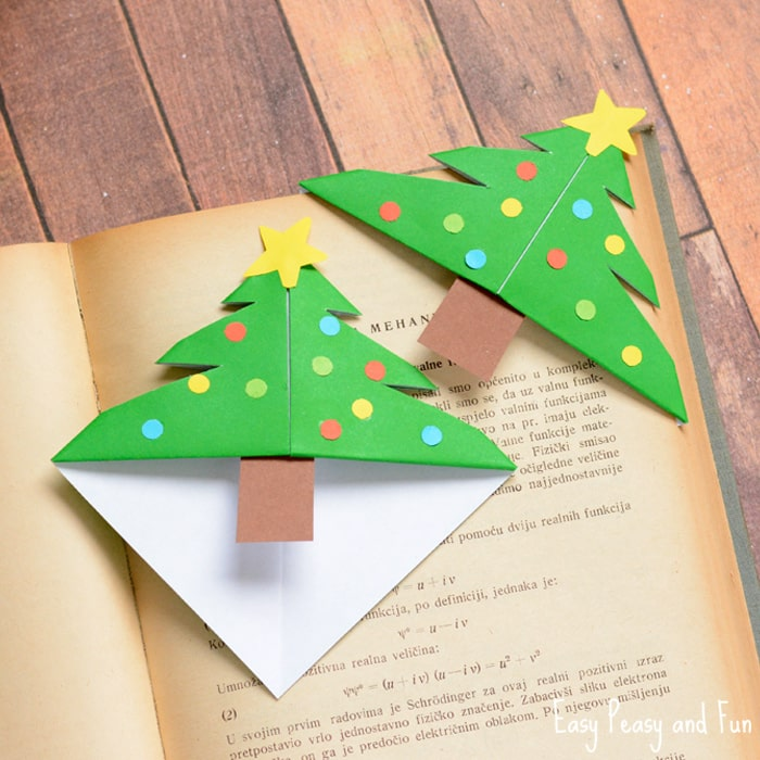 christmas tree corner bookmarks origami for kids easy