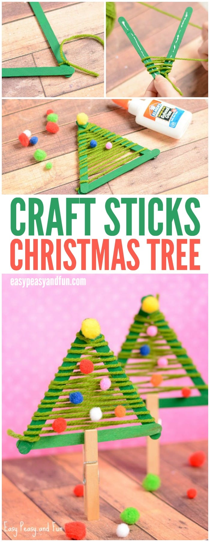 Cute Craft Sticks and Yarn Christmas Tree Craft