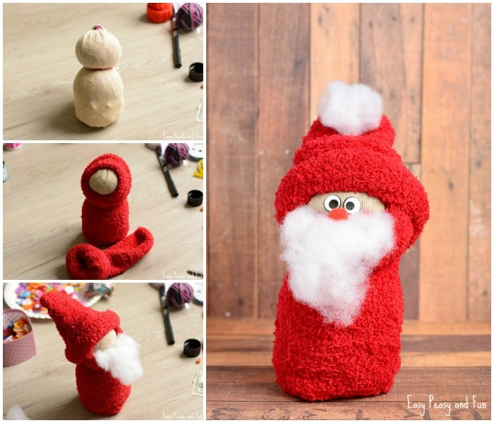 DIY No-Sew Sock Santa Craft for Kids