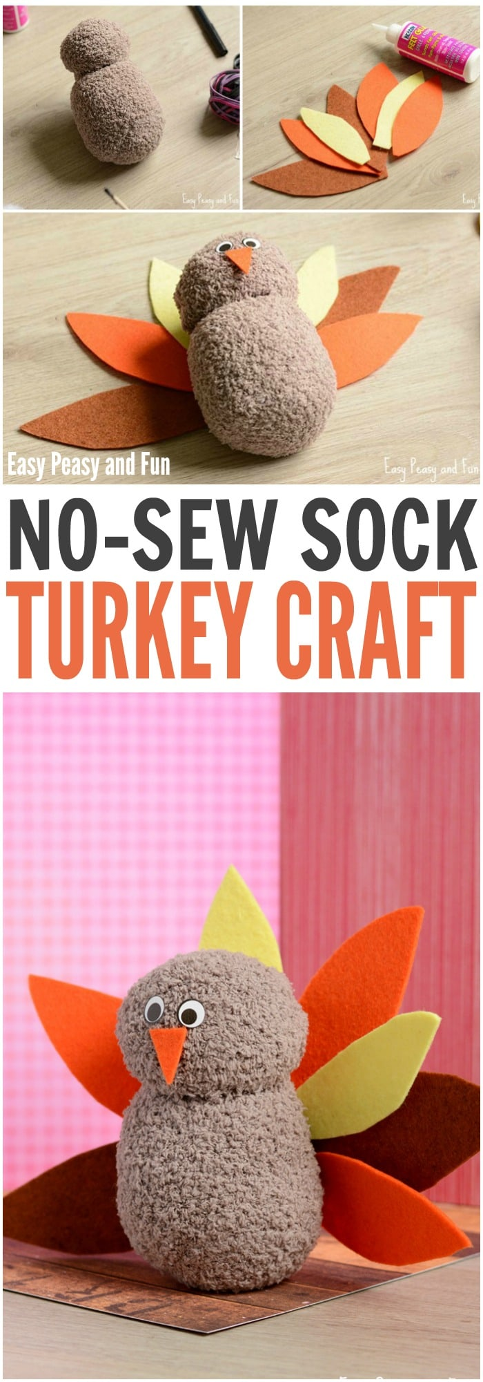 DIY No-Sew Sock Turkey Craft for your Little Ones