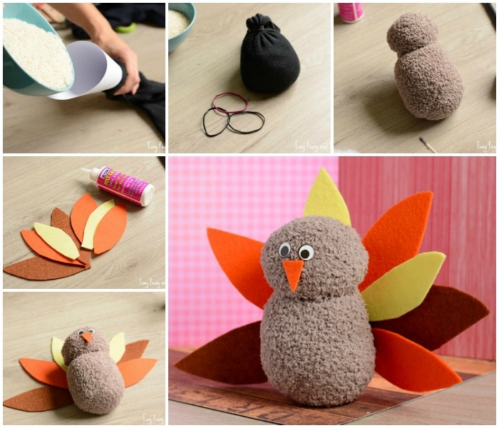 DIY No-Sew Sock Turkey Craft