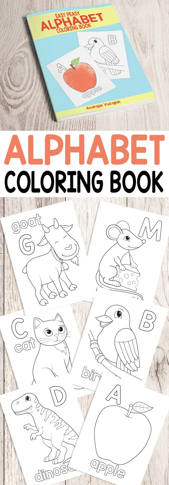 Easy Peasy Alphabet Coloring Book - from A to Z