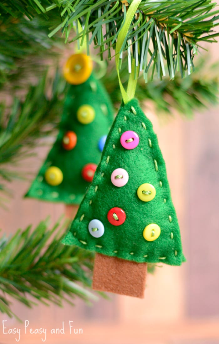 felt christmas tree ornament craft for kids to make - Christmas Tree Decorations For Kids