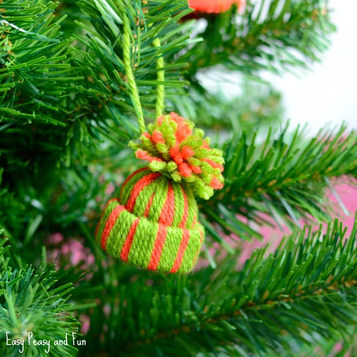 Mini Yarn Hats Ornaments - DIY Christmas Ornaments - Easy ...
