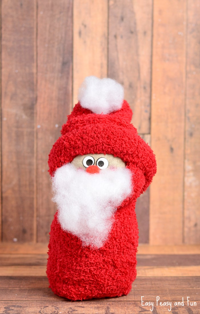 No-Sew Sock Santa Craft for Kids