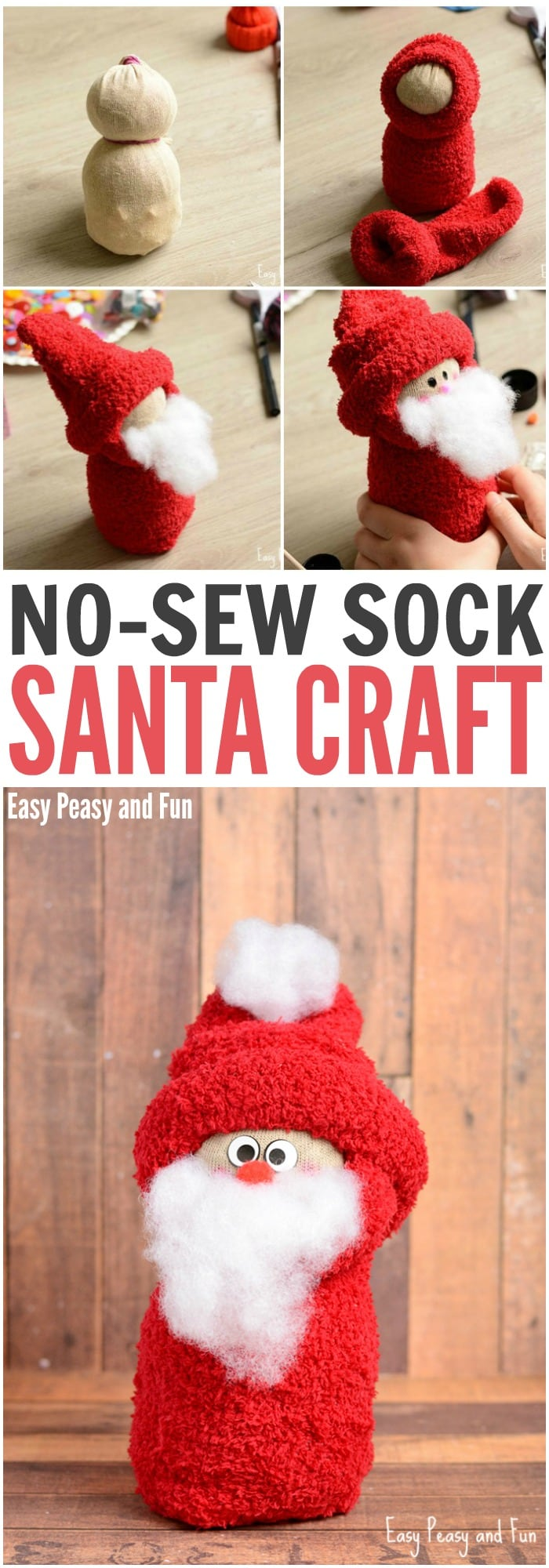 No Sew Sock Santa Craft For Your Little Ones