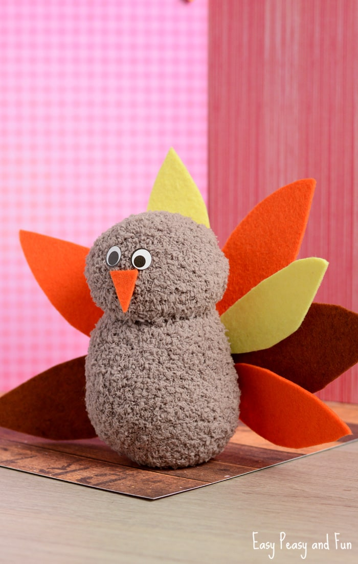 No-Sew Sock Turkey Craft for Kids
