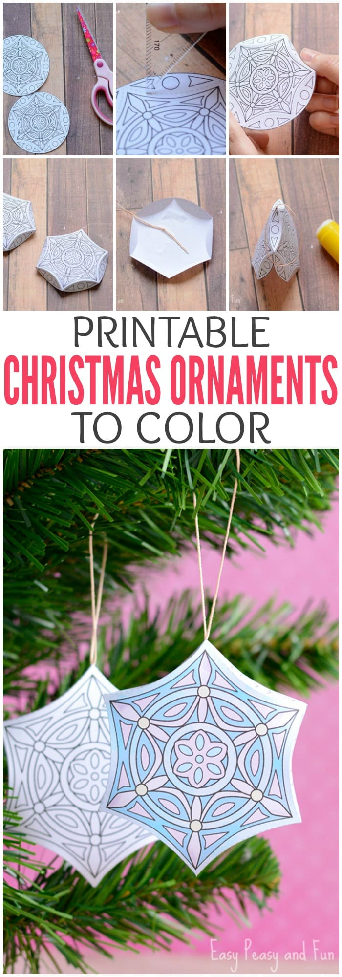 Printable Christmas Ornaments to Color - Easy Peasy and Fun