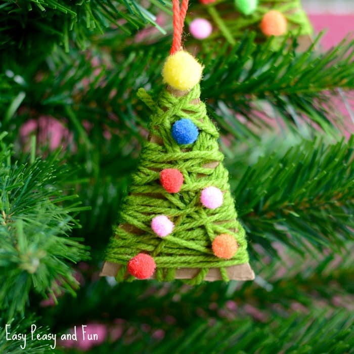 Yarn Wrapped Christmas Tree Ornaments - Easy Peasy and Fun