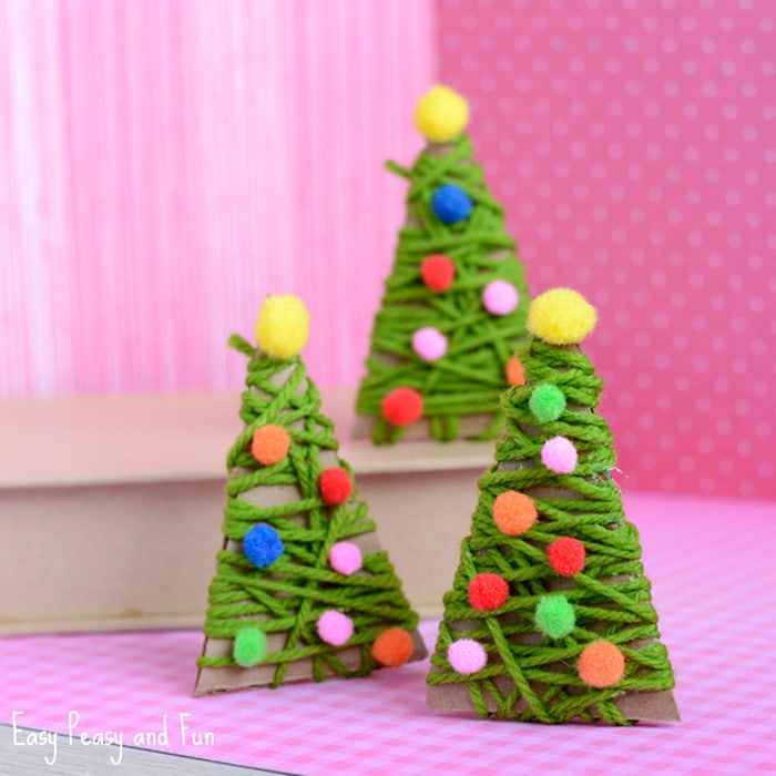 yarn wrapped christmas tree ornaments - Christmas Decoration Crafts