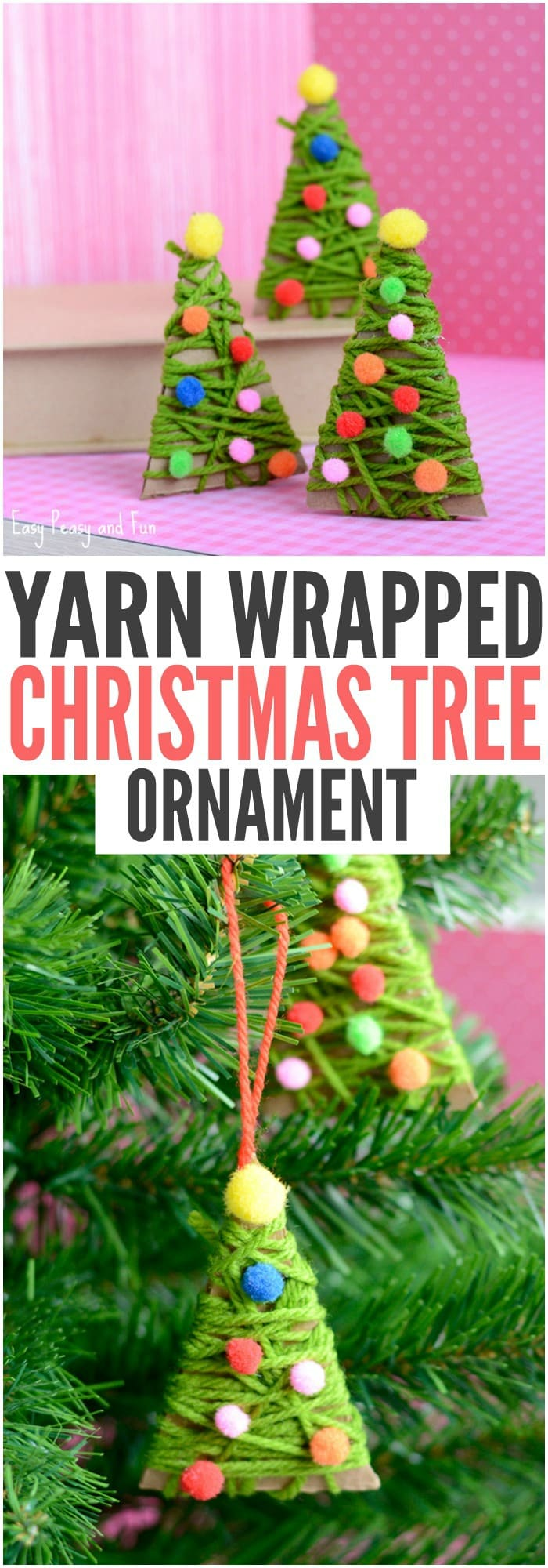 diy yarn wrapped christmas tree ornament christmas ornaments for kids to make
