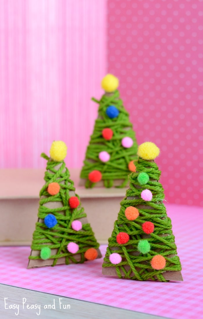 Yarn Wrapped Christmas Tree Ornament Craft