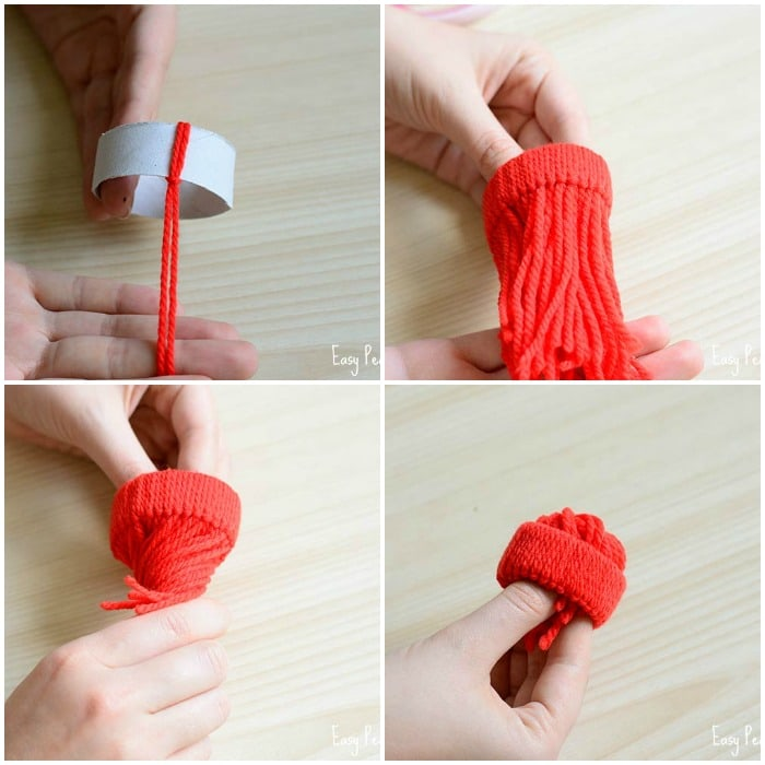 Mini yarn hats ornaments diy christmas ornaments easy peasy and fun rinse and repeat until you have all the paper roll covered with yarn solutioingenieria Gallery