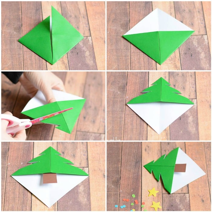 Christmas Tree Corner Bookmarks Origami for Kids Easy Peasy – Christmas Bookmark Templates