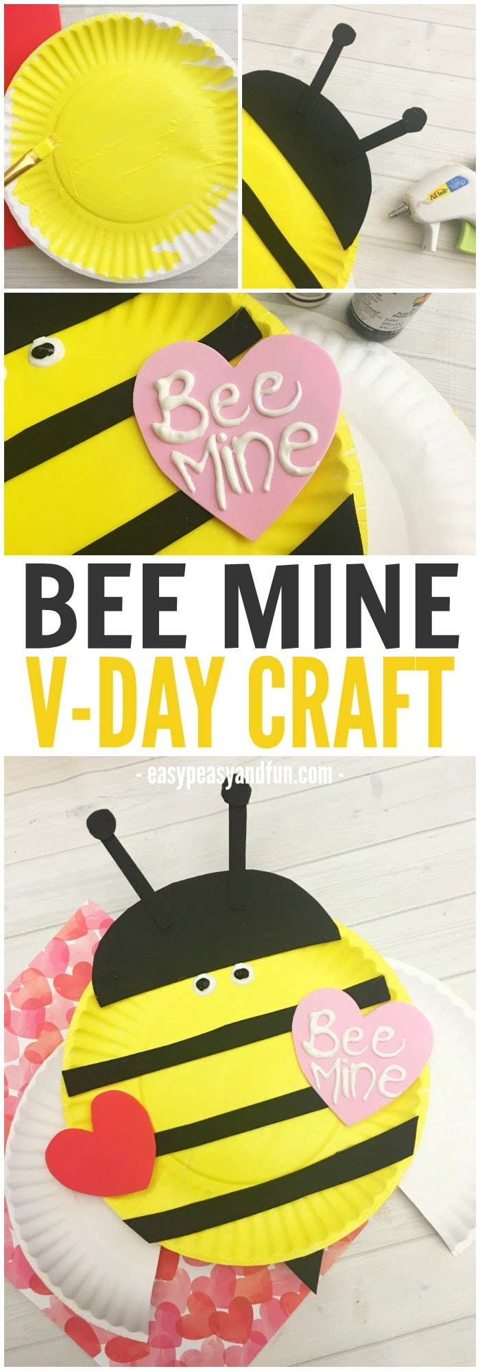 Adorable Bee Mine Valentines Day Paper Plate Craft