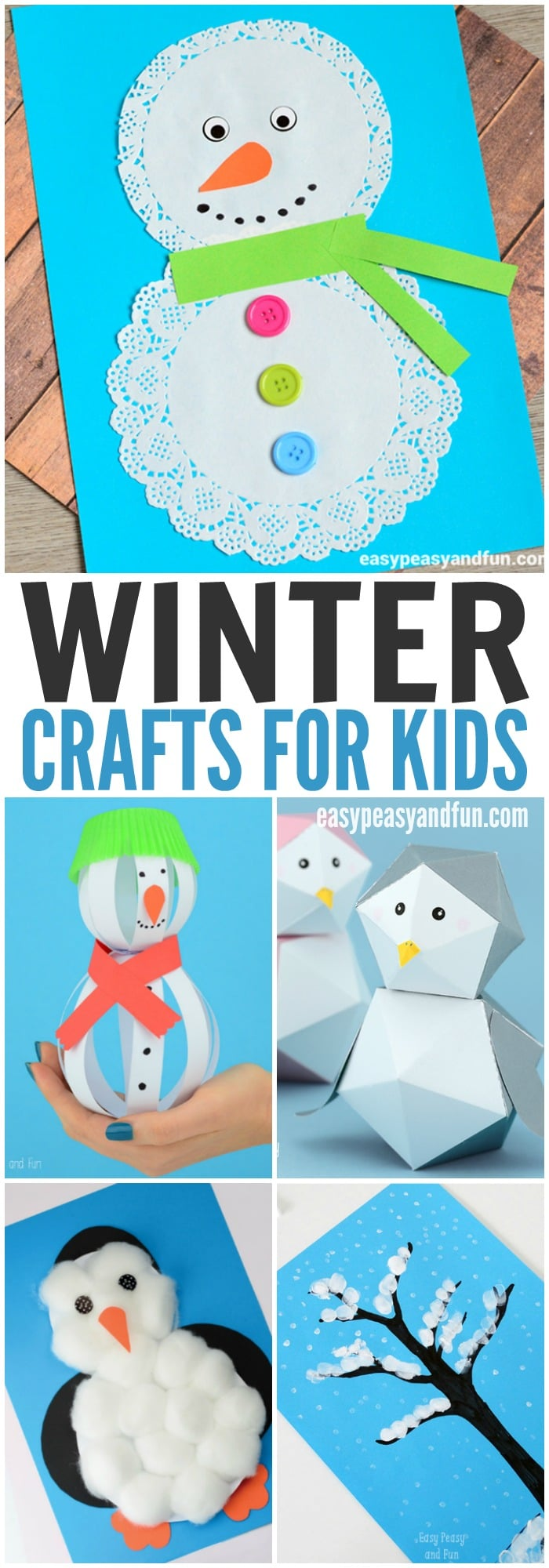 You can do all these at home and some of these winter crafts for kids are perfect to make in the classroom too. When thinking about winter crafts, snowmen, penguins, snowflakes and arctic animals always come to mind and we've got most of it covered (and keep on adding new fun ideas and tutorials for kids to make).