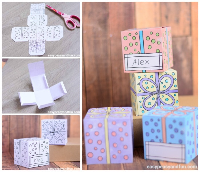 Cute Printable Gift Boxes Black and Coloured