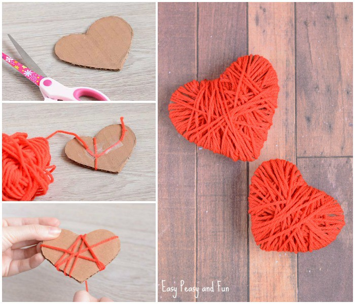 Cute Yarn Wrapped Hearts