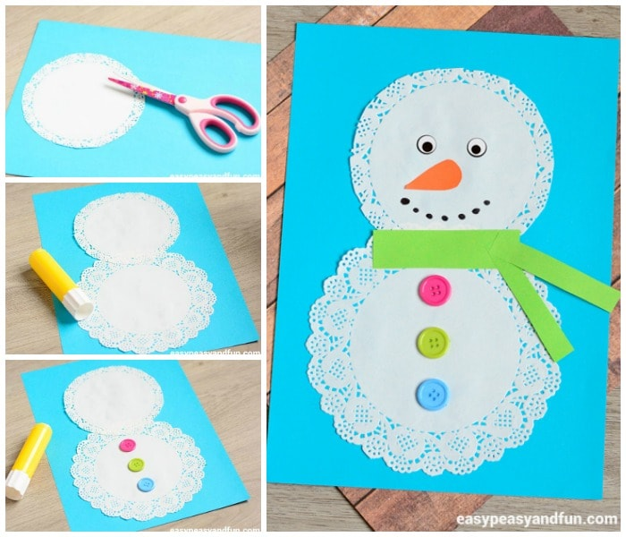 Doily Snowman Craft for Little Ones