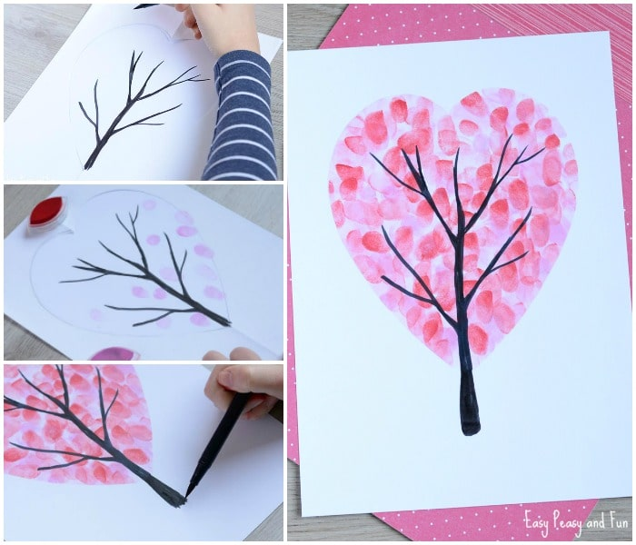 Mother's Day Card - Fingerprint Heart Tree - this one is perfect for all ages