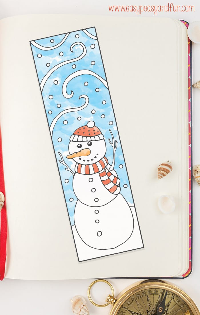 Printable Winter Bookmarks to Color