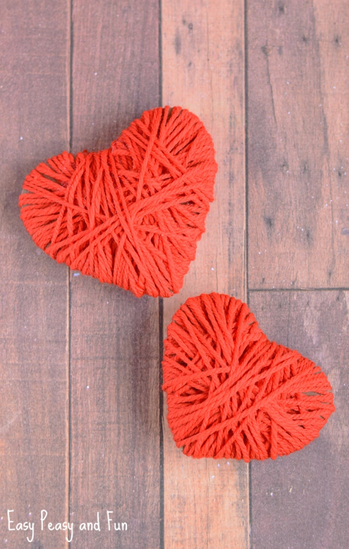 Yarn Wrapped Hearts Craft