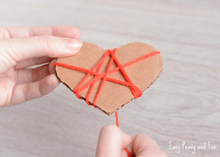 Yarn Wrapped Hearts Craft Valentines Day Crafts Easy Peasy And Fun