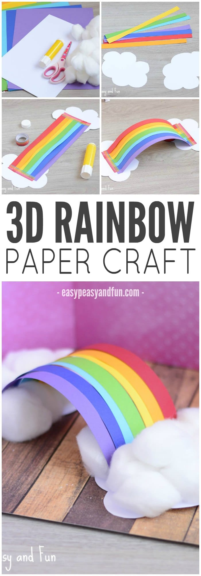 rainbow paper craft simple 3d rainbow paper craft easy peasy and 2809