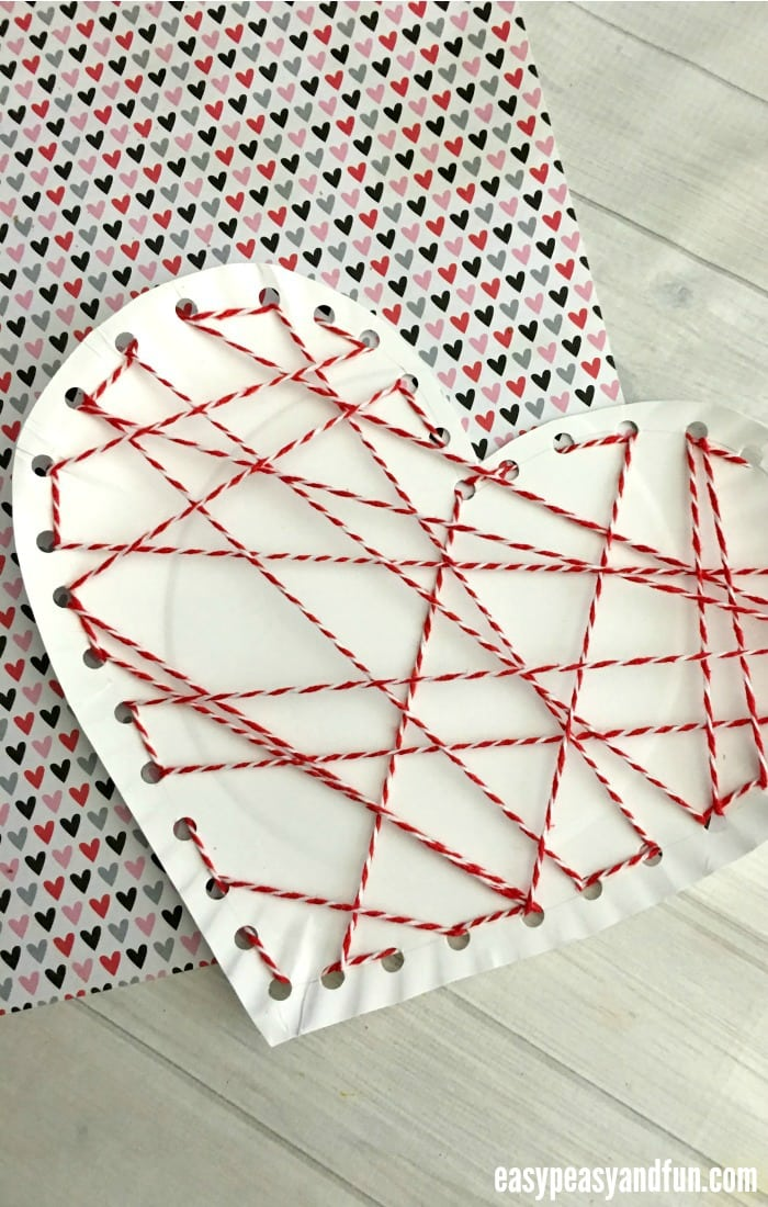 Threaded Heart Paper Plate Craft For Valentines Day Easy Peasy And Fun