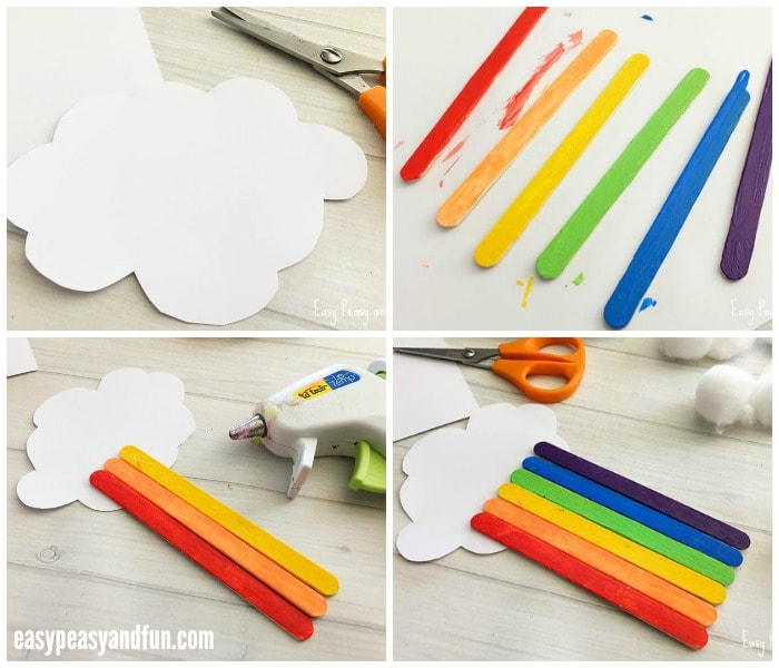 Craft Sticks Rainbow Craft Steps