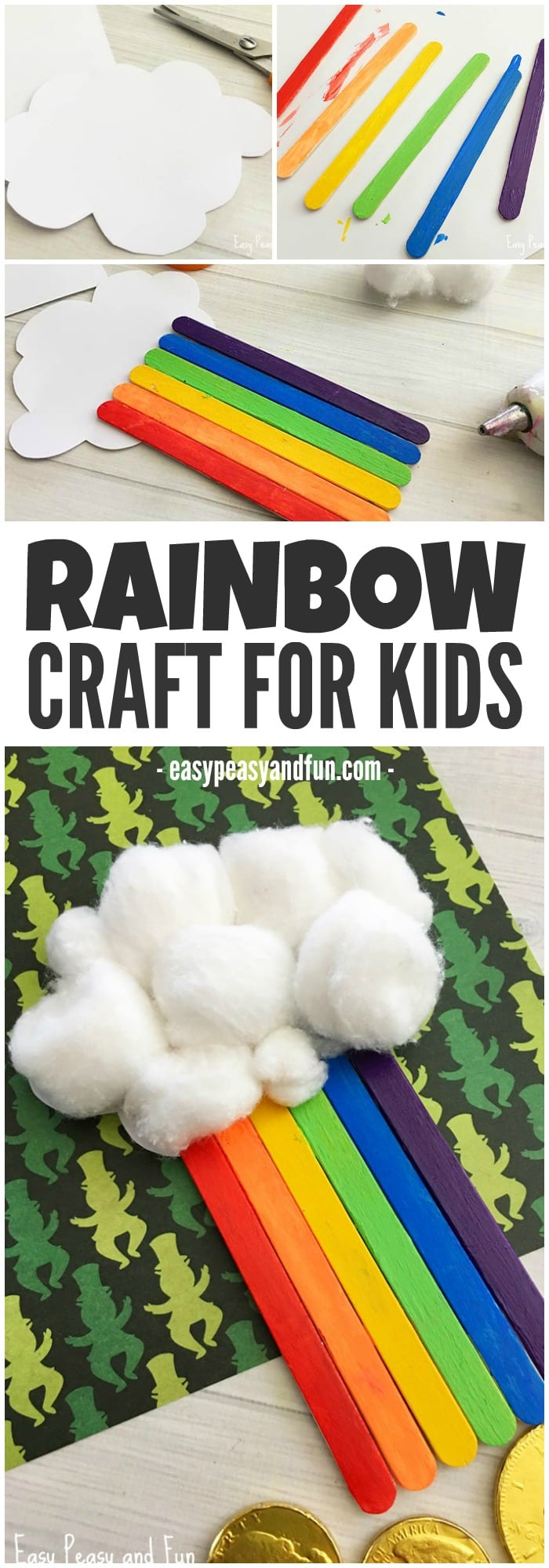 Cute Craft Sticks Rainbow Craft for Kids