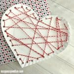 Threaded Heart Paper Plate Craft for Valentines Day