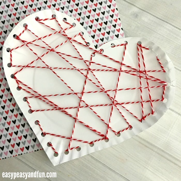 Threaded Heart Paper Plate Craft For Valentines Day Easy