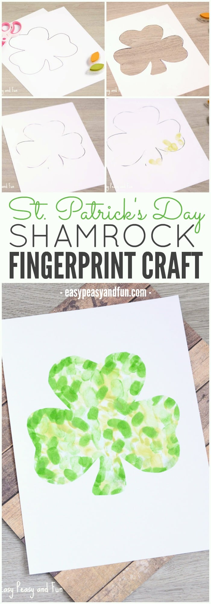 Easy Fingerprint Shamrock Craft