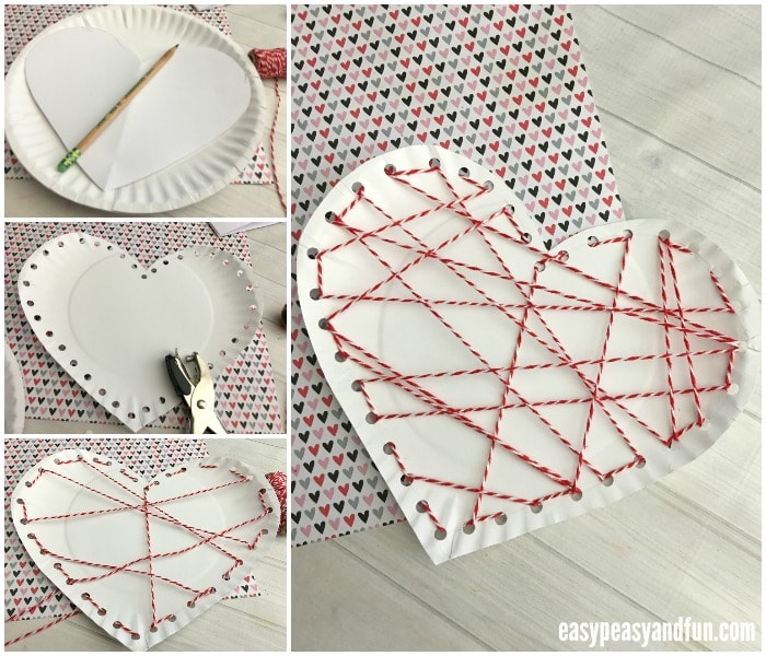 heart paper plate craft threaded paper plate craft for valentines day easy 4654