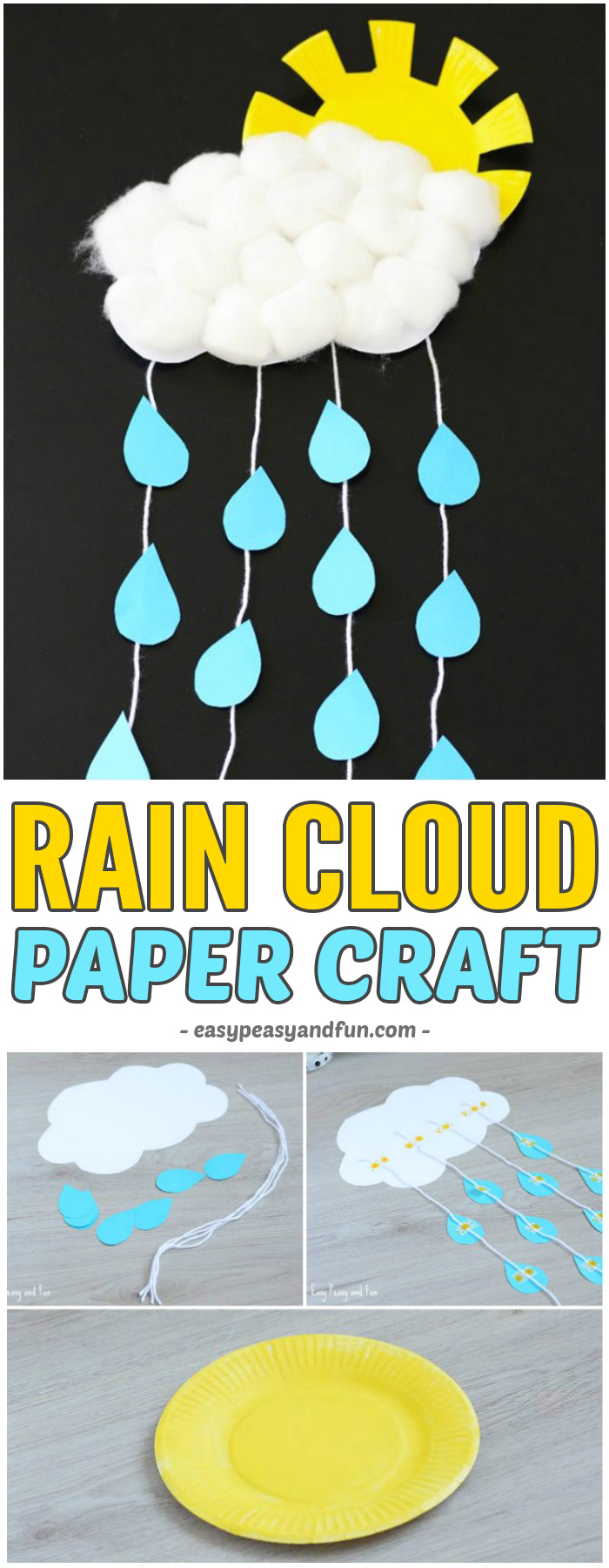 Rain Cloud Paper Craft for Kids to Make #craftsforkids #papercrafts #activitiesforkids