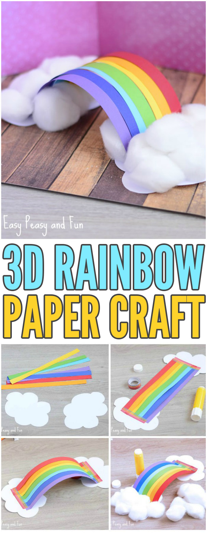 Simple 3D Rainbow Paper Craft for Kids #craftsforkids #Springcrafts #papercraftsforkids