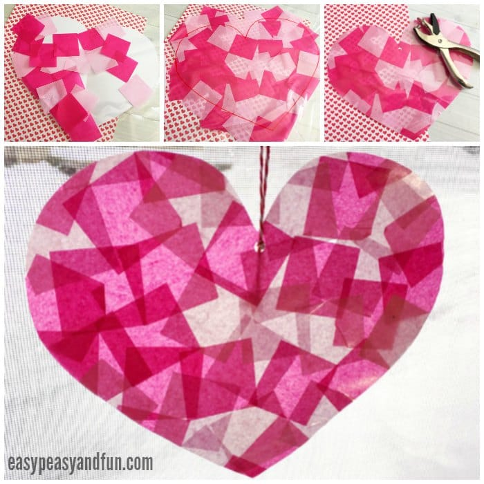 Simple Faux Stain Glass Heart Suncatcher Craft