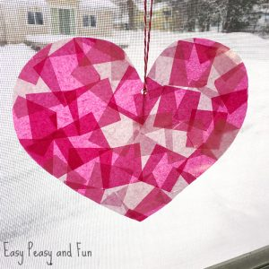 Faux Stain Glass Heart Suncatcher
