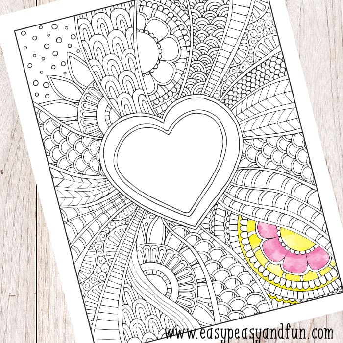 Valentines Day Doodle Coloring Page for Adults