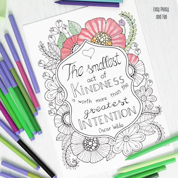 Page: Kindness Quote Coloring Page