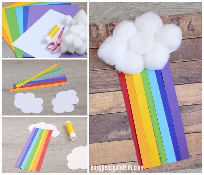 Adorable Cotton Ball Rainbow Craft
